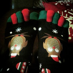 Getting in the Christmas spirit with some new toe socks!!  #cozytoes