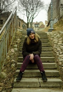 Girl sitting on the stairs