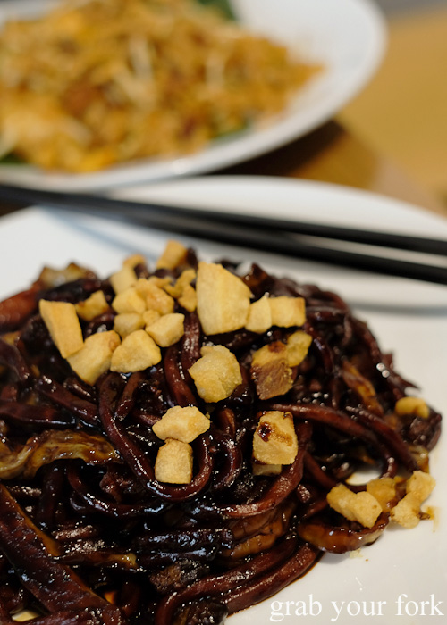 Crispy pork fat on the KL hokkien mee at Hawker Malaysian, Sydney