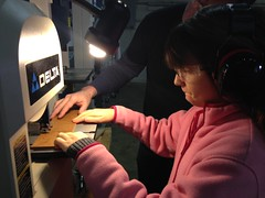 Claire at the bandsaw