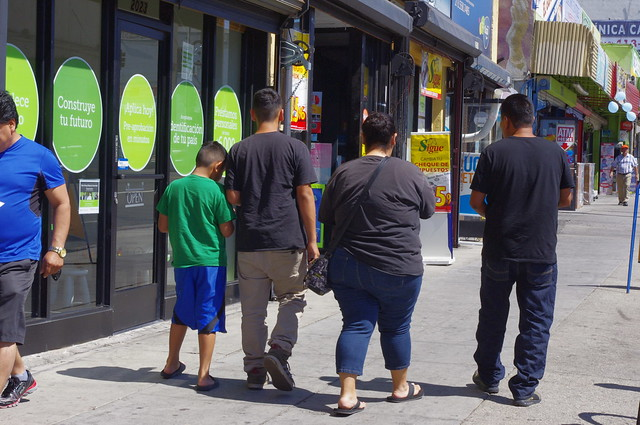 Family Walking Down 7th St. L.A.