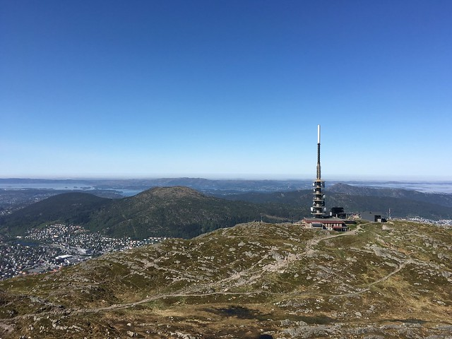 Looking back at the base station from Ulriken's summit