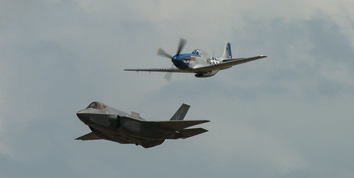 F-35A Lightning ll and P-51D Mustang