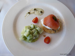 Lunch Starter - Smoked salmon Belini with Dill pot…
