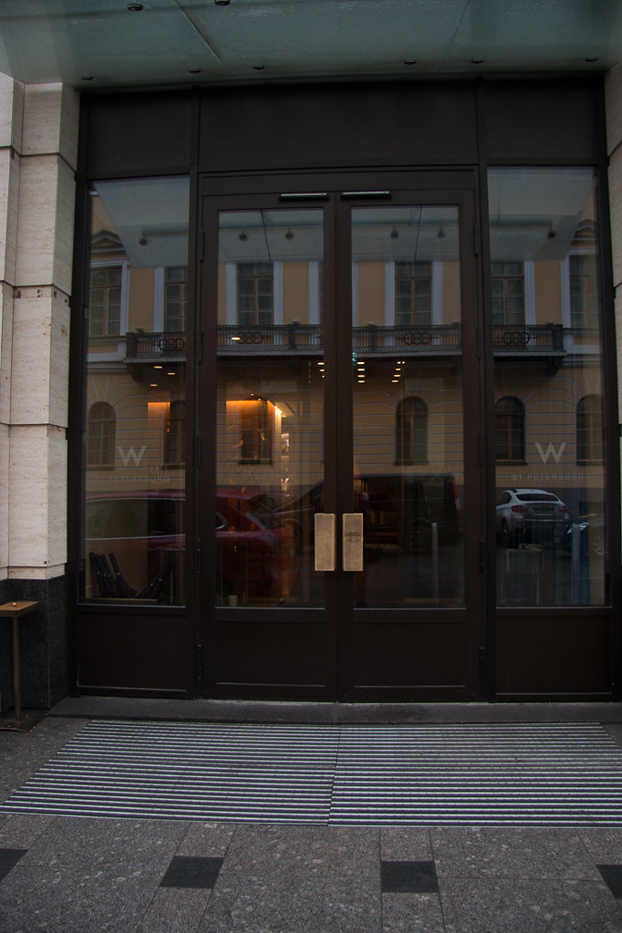 Entrance doors to hotel