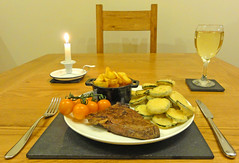 A meal for one. Rump Steak, double cooked chips, t…