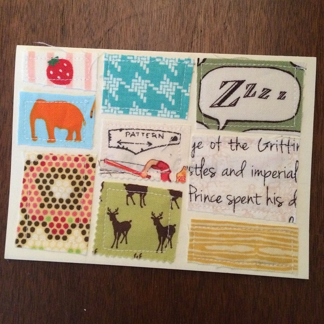 First fabric scrap card. This might be a new thing. :)