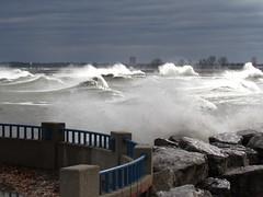 Lake Michigan was angry today.