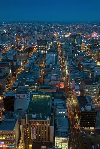 city sunset japan night lights sapporo twilight hokkaido cityscape dusk 北海道 ferriswheel bluehour tvtower 札幌 odori susukino すすきの 札幌駅前通