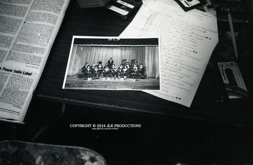 """Tri-X Files 84_30.04: The 1983-84 Band Group Photo from the 1983 """"Exemplar,"""" plus some stuff on my desk that's actually really important in identifying when this photo was taken"""