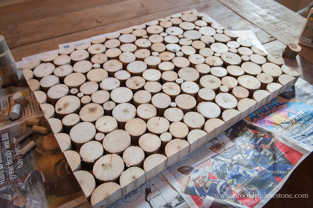 Wood Doormat finished and waiting for glue to dry after all the pieces have been placed