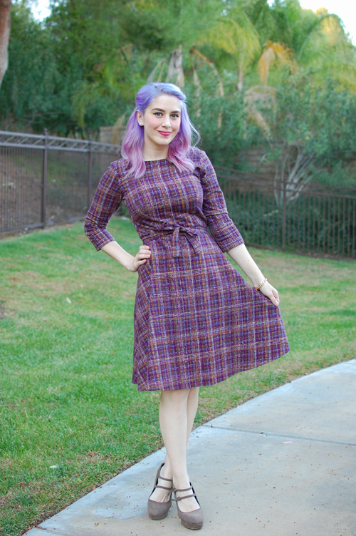 Retro purple plaid dress from Heart of Haute