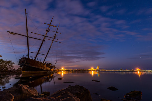 longexposure night clouds stars harbour jordan shipwreck bluehour nikond600