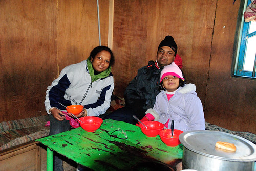 A warm brakfast of noodle soup at a local Tibetian home