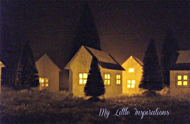 Paper-house-lanterns-progetto fai da te per Natale, paesaggio natalizio, paper craft