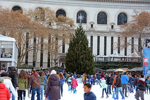 Picture Of Citi Pond Ice Skating At Bryant Park In New York City. Citi Pond Ice Skating Started October 21, 2014 And Ends Sunday March 1, 2015. The Bryant Park 2014 Christmas Tree A 50-Foot Norway Spruce Is Now Decorated And Will Be Lit In Bryant Park On