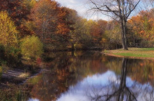 pentax k3 vbd smcpentaxda55300mmf458ed ct connecticut fall fallcolor autumn newengland park oldminepark trees reflection trumbull water bridge 2014 fall2014 footbridge composite painterly l ll landscape vista river