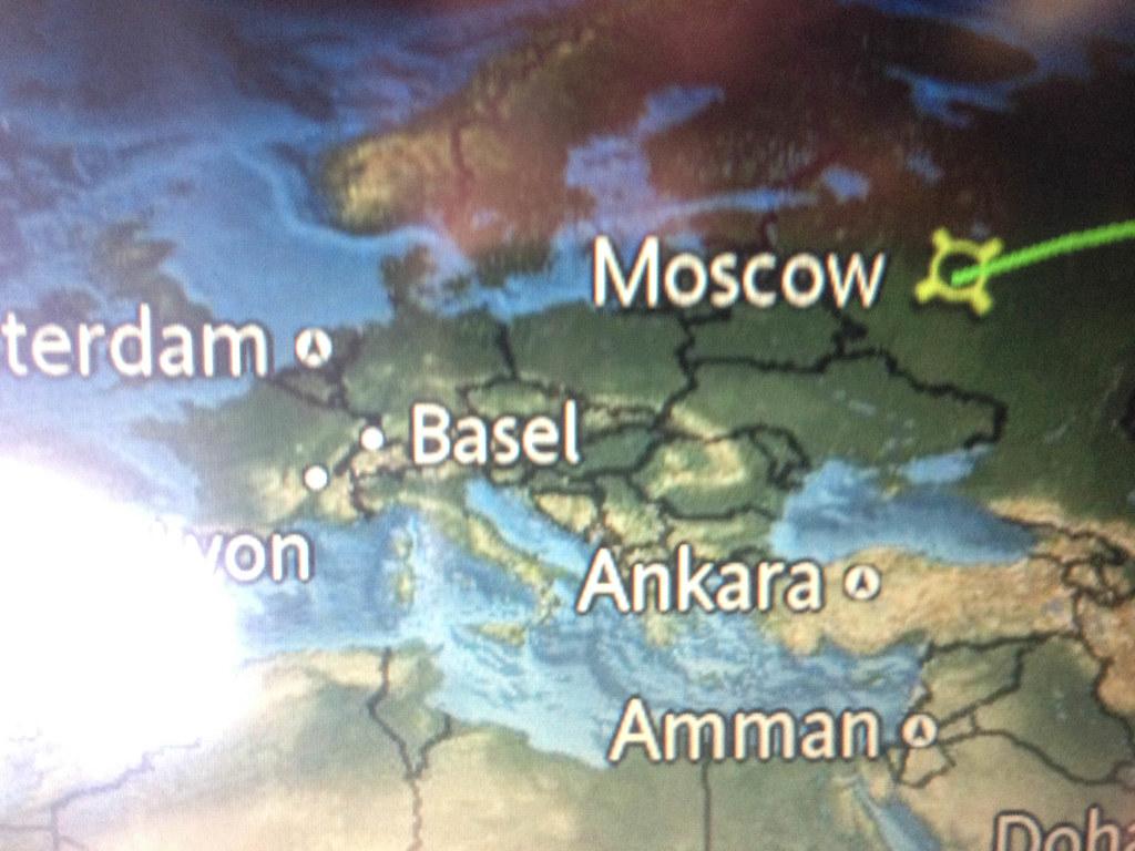 Karte auf einem Bordbildschirm in einem A330 der Aeroflot. Die eingezeichneten Grenzen schlagen die Krim nach wie vor der Ukraine zu.