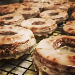 Gingerbread donuts with eggnog glaze!