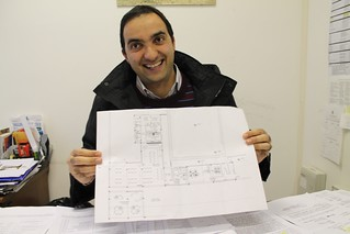 Paolo Mazzone e la planimetria della mensa dei poveri che dovrebbe aprire a breve