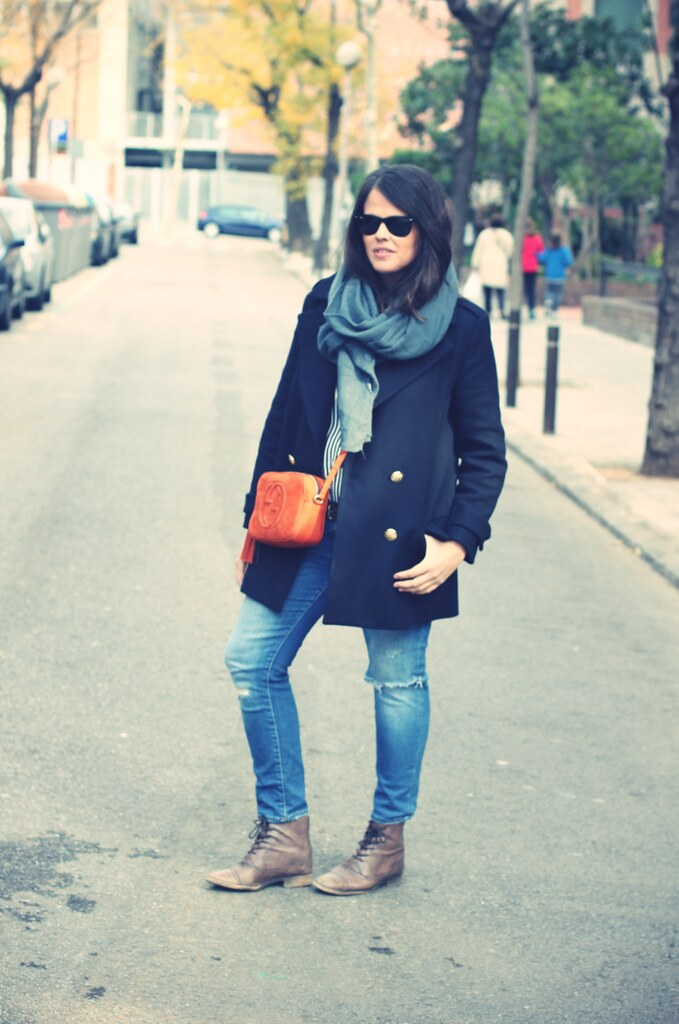 Blue outfit + Gucci Soho Bag - Street Style