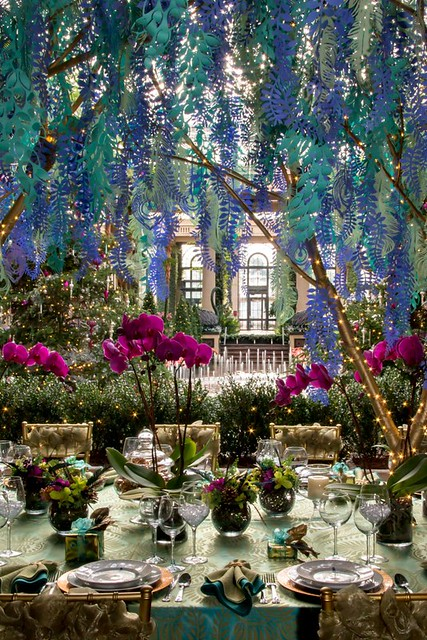 paper flower and foliage installation at Longwood Gardens