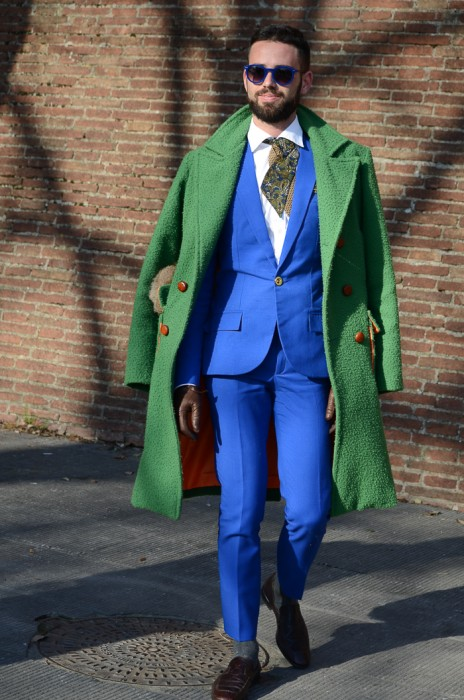 Green Coat + Blue Suit