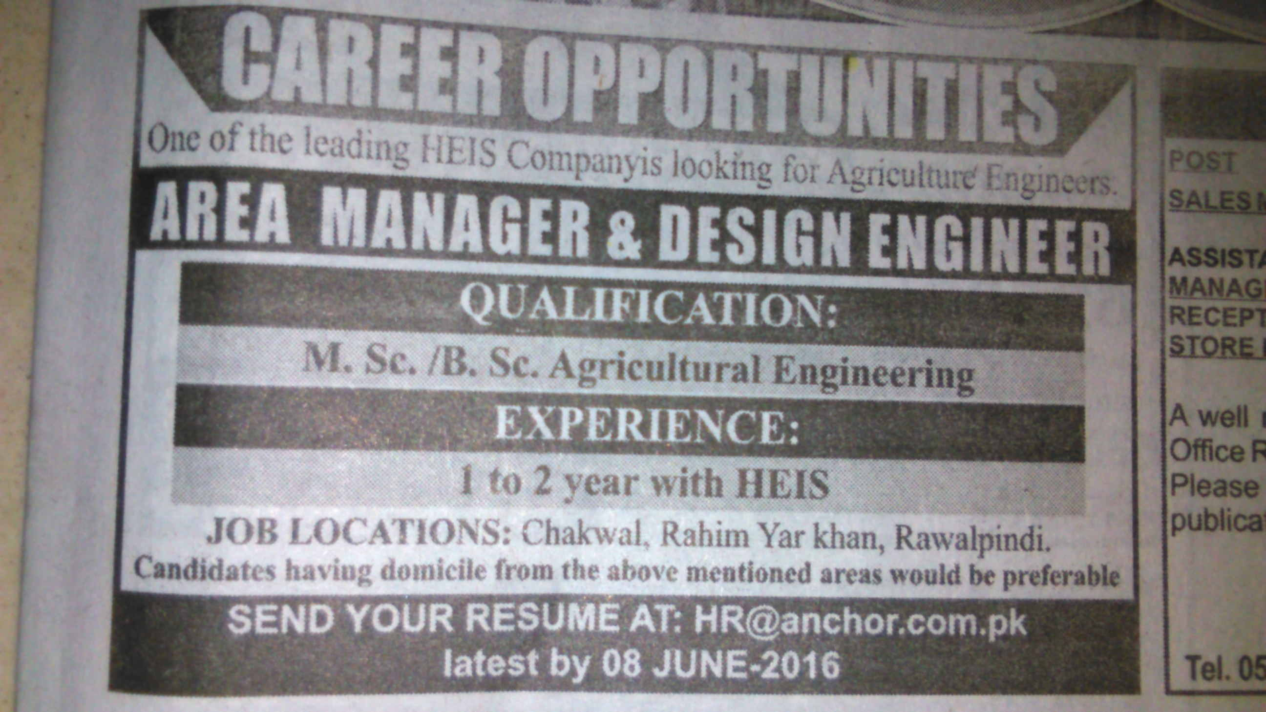 Area Manager and Design Engineer Required