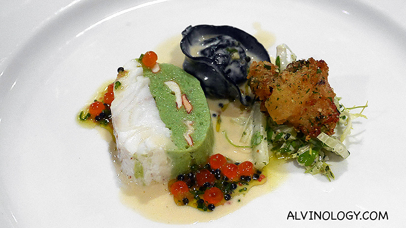 Hot appertizer - Warm Terrine of White Halibut with Blue Lobster & Scallop Tortellini of Smoked Eel with Light Cream of Salicorn & Caviar Blue Lobster Fritter & Green Vegetable Remoulade
