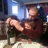 Popping champagne at Christmas dinner. :)