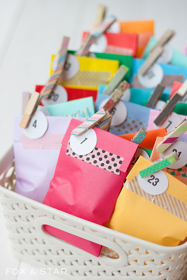 Diy Washi Tape Advent Calendar Treat Bags Fox And Star Blog
