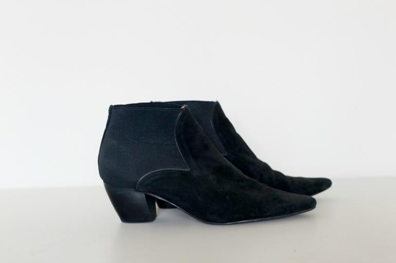 vintage zwarte enkellaarzen met punt
