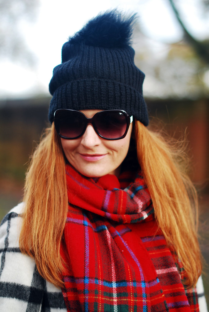 Winter style: Black and white plaid and red tartan