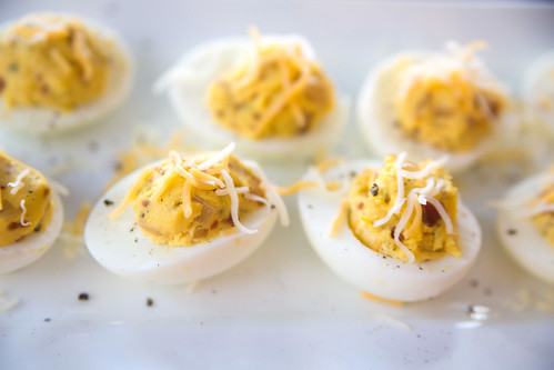 Bacon Deviled Eggs with Caramelized Onions