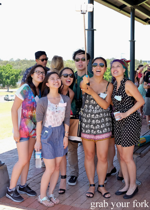Selfie stick group photos at the Sydney Food Bloggers Christmas Picnic 2014 #sydfbxmas2014