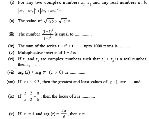 Class 11 Important Questions for Maths – Complex Numbers and ...
