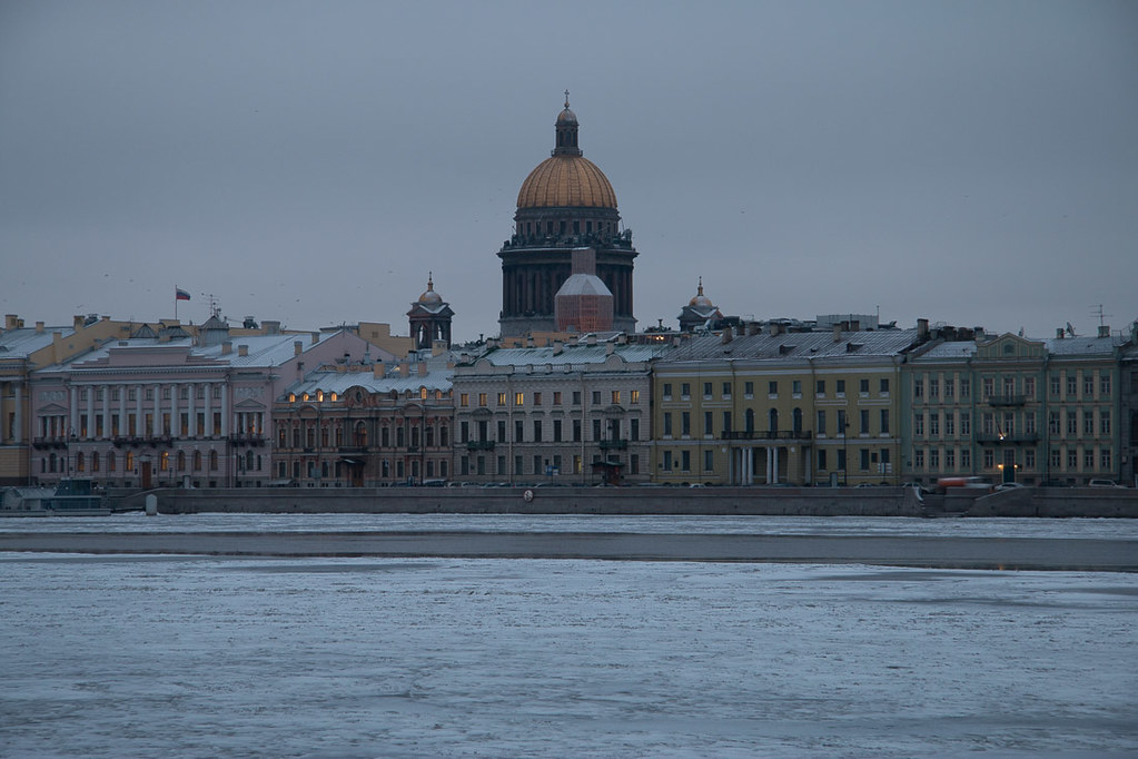 St. Isaac's Cathedral in St. Petersburg, as seen from across the Neva River