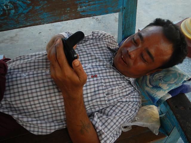 Tech Time at Kuthodaw Pagoda in Mandalay, Myanmar