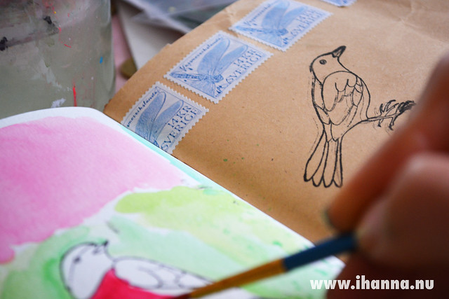 Art Journal Detail: Painting a bird