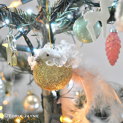 Glittered bird on my Christmas tree