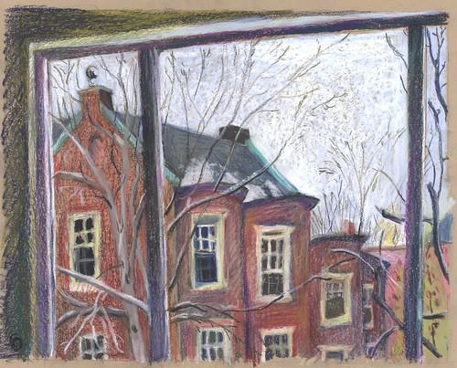 autumn windows boston massachusetts brookline insideoutside urbanlandscape neocoloriiwatersolublewaxpastels marciamilnerbrage cansonwickerwirescrapbook