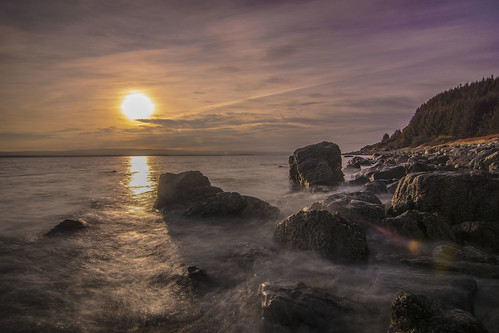 sun beach clouds forest coast scotland blackisle