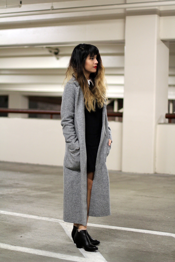 Zara Coat, Reformation dress, Rag & Bone bag, Very Volatile boots