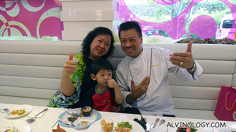 My mum-in-law Sally, my son Asher and executive chef William Ang