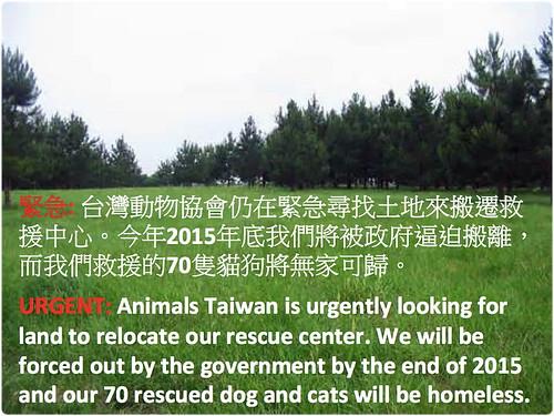 「需要」台灣動物協會目前保育場~年底即將被政府收回~需要大台北地區租或售的土地~另長期徵志工~謝謝您~20150109