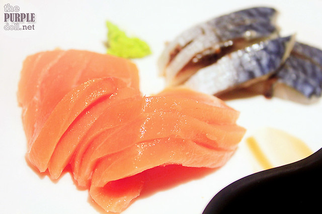 Salmon and mackerel sashimi