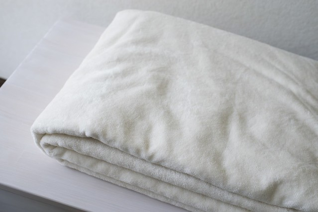 無印良品 綿シール織毛布 生成