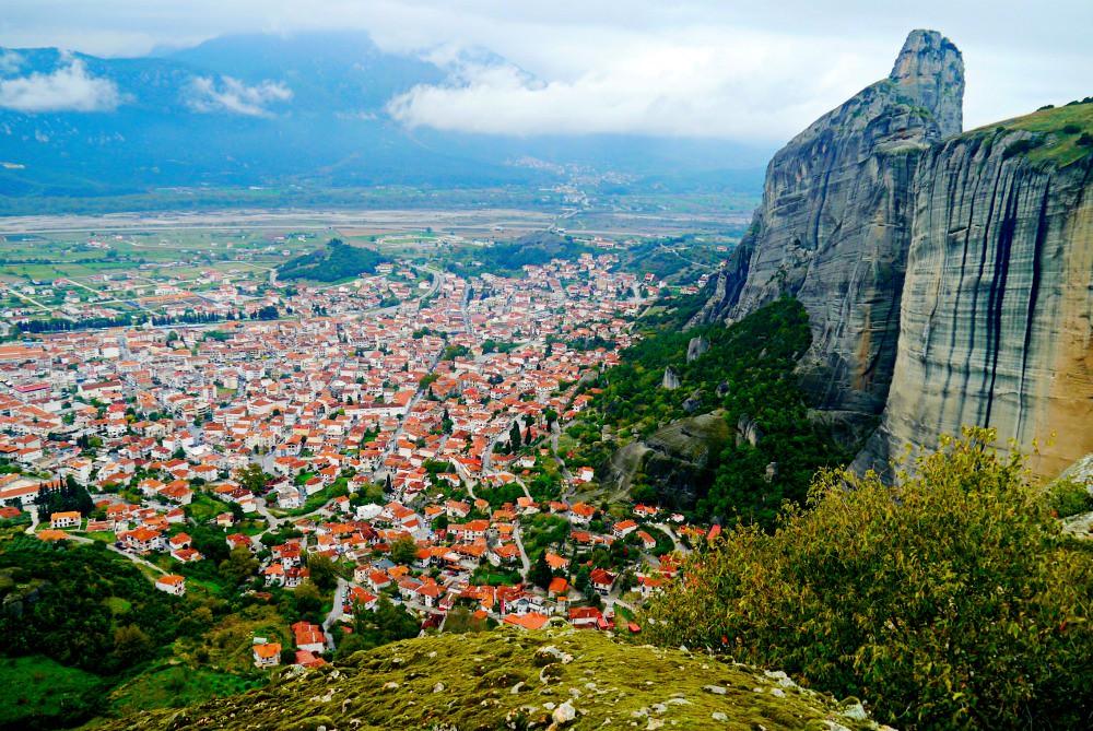 View of Kalabaka town, Meteora