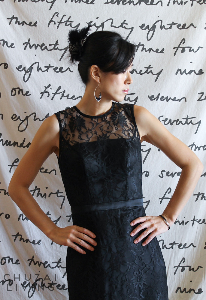 Black lace gown with string back-21