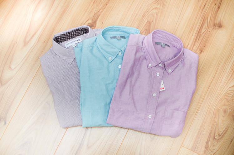 Uniqlo Shirts Workwear Lilac Duck Egg-0183